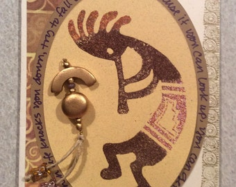 Handmade Card of Embossed Kokopelli Embellished with Beads