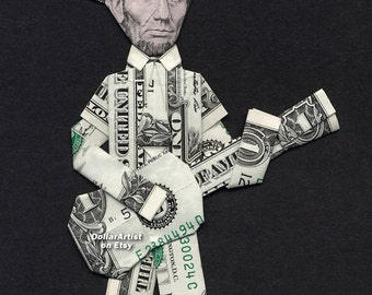 ABE LINCOLN w/Baseball Cap playing Guitar Dollar Origami - Money President Gift