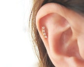 14K Solid Gold piercing / CZ Bar Piercing / Helix piercing / cartilage earring / Tragus earring /Delicate ear piercing/Bar piercing