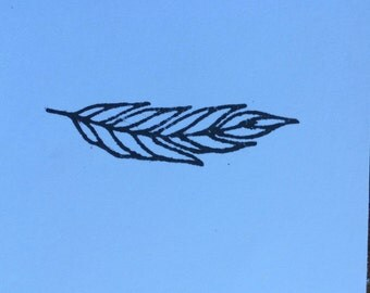 Petite Feather stamp -- feather stamp --bird stamp -- wing stamp -- rubber stamp