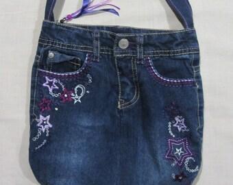 Embroidered Blue Denim Shoulder Bag