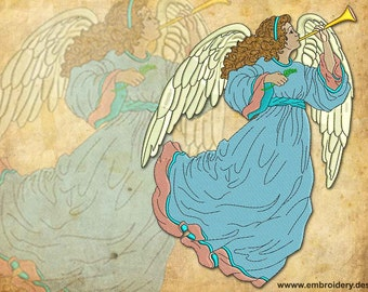 Vintage Light Trumpeting Angel embroidery design – 3 sizes
