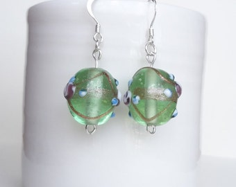 Green Lampwork Sterling Silver Earrings, Green Earrings, Lime Earrings, Lampwork Earrings, Green Drop Earrings, Lampwork Dangle Earrings
