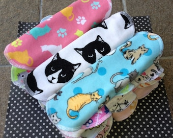 Cats, 3-7-14, Reusable Cloth Pantyliners, Panty Liners, 100% Cotton Flannel, 3 Sizes, Variety Pack, Winged