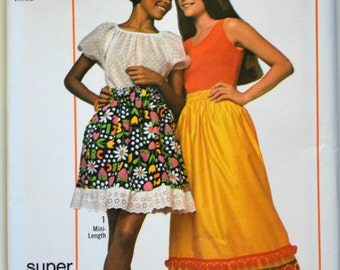 Uncut 1970s Simplicity Vintage Sewing Pattern 9232, Size Medium; Super Simple Skirt in Two Lengths