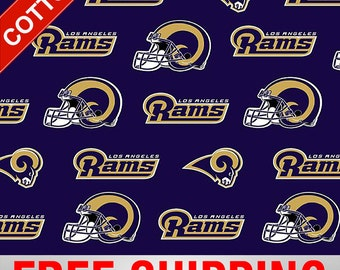 """Los Angeles Rams Cotton Fabric NFL Style RAMS-6816 60"""" Wide Free Shipping"""