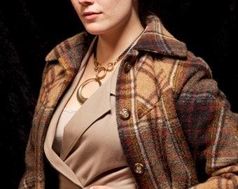 women's Plaid wool coat