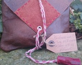 Handmade Brown Leather OxBloodBurgandy Tassel BohoFestivalVintage Style Clutch Bag Handmade From 100 Recycled Materials