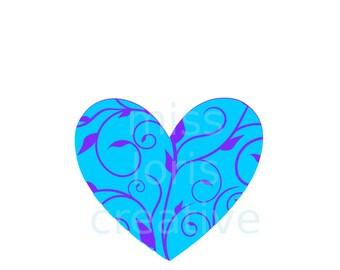Fancy Vine  Heart Cut file Valentinesscrapbook vinyl decal wood sign cricut cameo Commercial use
