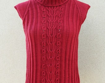 Red turtle neck top, women top, sleeveless, top, summer top, cotton top, turtle neck, women vest