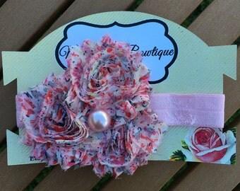 Baby/Girls headband, Shabby, Flowers Headband, paisley, MilaRoseBowtique