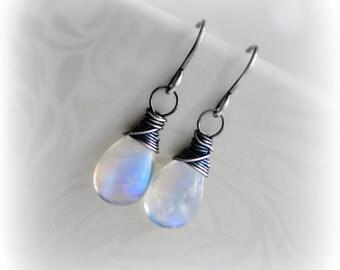 Moonstone Earrings, Rainbow Moonstone Dangle Earrings, Moonstone Earrings Sterling Silver Oxidised Silver or Gold, Gift for Her, Blissaria
