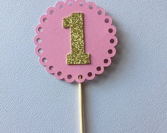 Set of 12 cupcake toppers, first birthday, food picks, girl