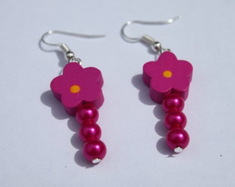 Pink earrings. Fuschia earrings. Bright pink jewellery. Flower earrings. Flower jewellery.  Mary Quant colours. Pink and orange