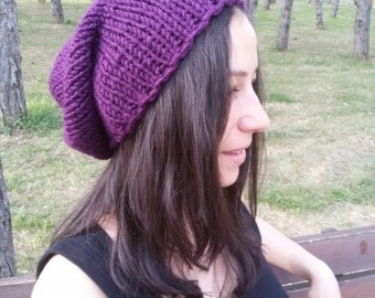 Purple Knit Hat Slouchy Beanie Hat Womens Hats Purple Gift for Her Fashion Accessories Knit Accessory Spring Trends by DragonflyStrand