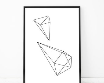 Geometric Diamond Print Modern Scandinavian Design Geometric Shapes Math Art Shape Art Geometric Wall Art Nordic Art Print Triangle Art