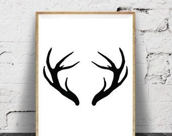 Deer Antlers Print, Deer Antlers Wall Art, Printable Deer Art, Deer Prints, Deer Wall Art, Black and White, Nature Prints, Antlers Print