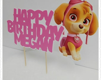 Skye (Paw Patrol)--Inexpensive Personalized Cake Toppers with Name & Character--Kid's Birthday Party Decorations