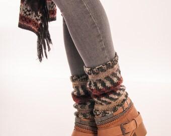 Aztec Leg warmers Patterned boot cuffs Knit boot socks Ethnic pattern Poncho combo Bohemian accessory Winter socks Over the knee socks