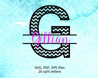 Chevron Split Letters SVG cutting files, Split Letter Monogram, Split Alphabet svg files, svg initials , font for cricut, monogram svg font