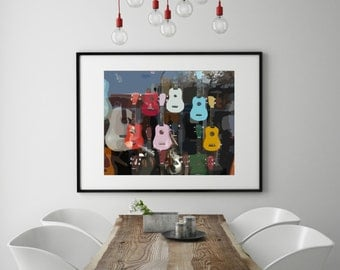"Modern Wall Art, Mid Century Art Print, Abstract Print, Music Art, Guitar Art, Musical Instruments, Ukulele, Colorful Art, ""Reflections"""