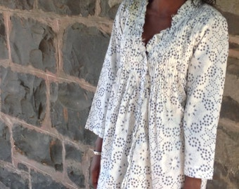 Blue & White Cotton top or dress  - Size S - L