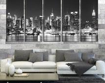 Black White New York Lightly Night Canvas Home Decoration Art Print No:186