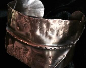 Copper Form Folded  hammered Cuff Bracelet
