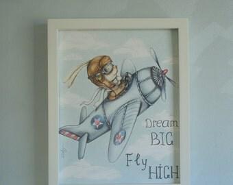 Rabbit the Aviator. 11 x 14 in nursery print. children room decor. Baby shower gift. Aviator. Rabbit. Pilot. Airplan. Aeroplane picture. Sky