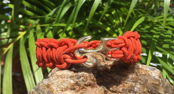 Fish Hook/ Anchor Paracord Bracelet, or Anklet, paracord bracelet with 22k gold anchor buckle
