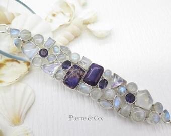 Rainbow Moonstone Blue Topaz Sugilite Sterling Silver Bracelet