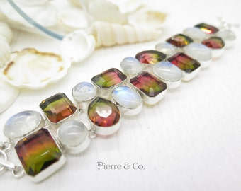 Tourmaline Quartz and Rainbow Moonstone Sterling Silver Bracelet