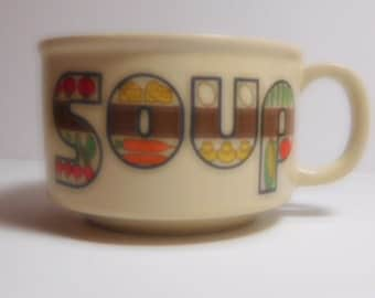 Vintage Soup Mug Made in Japan, Mid Century Ceramic Stylized Letters 1960's