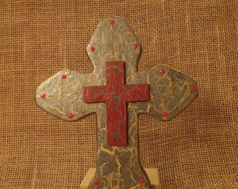 Distressed Cross, Crackled Wood Cross, Unique wall Cross, Gift for men, Fantasy wall decor, Wood wall art, Handmade, Religious Wall Art