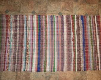 loom made rag rug 75' X 27''