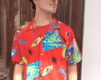 Vintage Red Tropical Pineapple Hawaiian Shirt