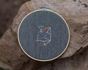 Abstract Geometric Embroidery Hoop Art, Modern Home Decor, Wall Decor, Original Design, Unique gift.