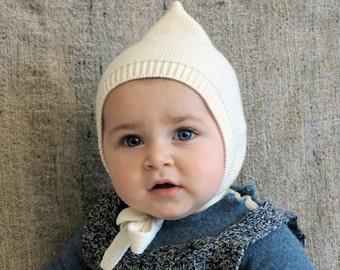 Off White Pixie hat 100% Merino wool