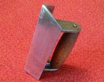 Vintage Concrete Trowel Step & Corner Finishing Tool Antique Inside Corner Floor Finishing Wood Handle Tool