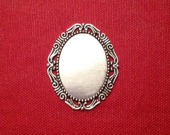 Great support cabochon / support pendant / silver / aged silver