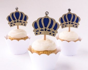 Set of 12 –Gold & Royal Blue Crown Cupcake Toppers - Crown Cupcake Picks – Royal 1st Birthday, Baby Shower - Ready to Ship