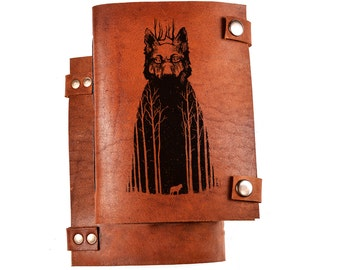 Wolf journal - lined journal - lined notebook - wolf notebook - lined diary - custom diary - personalized diary - leather diary