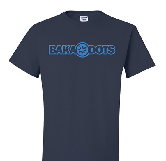 Baka Dots Text Logo Navy Blue T-Shirt, Navy Blue and Cyan Blue TShirt, Otaku Gift, Geekery Gift, Back to School Gift, Navy Blue Cotton Tee