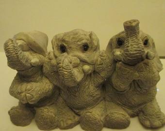 "Elephants-See No Evil, Hear No Evil, Speak No Evil-Stone Critters--VTG.- PLUS--""See No  Evil, Hear No Evil...""  Monkeys--Both for One Price"