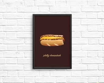 Philly Cheesesteak Art Print / Philly Food Illustration