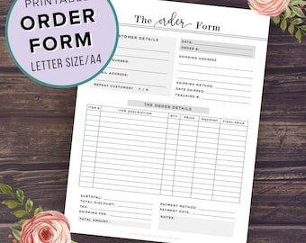Order Form Template Printable, Custom Order Form, Business Planner, Etsy Shop Planner, Photography, Small Business Planner, Instant Download
