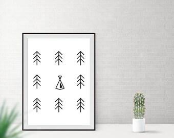 Art print / / pattern / / tipi