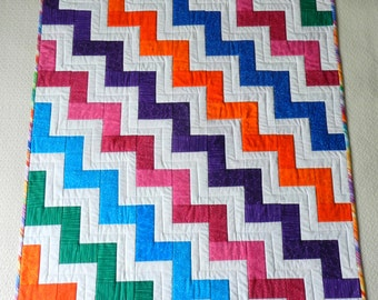 New Modern Zig Zag Quilt in Bright Colors - Baby or Child Quilt, Wall Hanging, Display Piece or Lap Quilt - Colorful Striped Backing