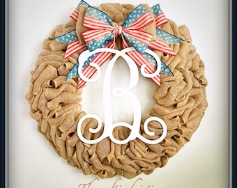 Wreath for Sale-Patriotic Wreath-Burlap Wreath-American Wreath-4th of July Wreath-Americana Wreath-Independence Day Wreath-Summer Wreath