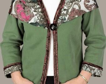Silk Scarf Knit Jacket, Ladie's Knit Jacket, Sweatshirt Jacket, Woman's Jacket